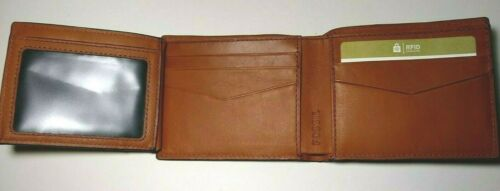 Fossil Hayward Traveler Wallet Bifold Flip ID Whisky Brown Leather Ombre RFID