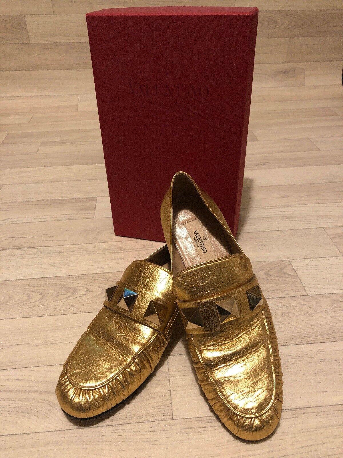 Valentino rockero de oro UK 6 EU 39 vgc Valentino zapatos Bajos