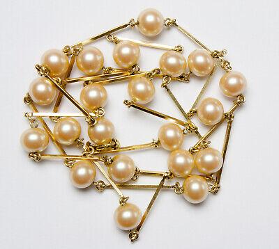 UnermüDlich Goldfarbene Stäbchenkette Mit Perlen Amerikan Double *top* Am SorgfäLtig AusgewäHlte Materialien