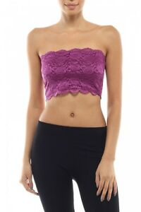 d6abda64eb Image is loading Bozzolo-Strapless -Stretch-Floral-Lace-Layering-Bandeau-Cropped-