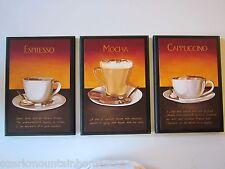Coffee Mocha Espresso Cappuccino Latte Kitchen Wall Decor Plaques 3 cafe signs