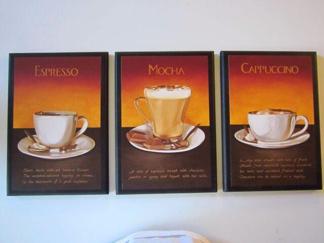 Coffee Mocha Espresso Cappuccino Latte Kitchen Wall Decor Plaques 4 ...