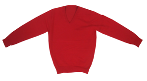 NEW Ex M/&S Unisex /'V/' Necked Cotton Rich School Jumpers Red Ages 3-10 Years