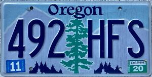 GENUINE-American-Oregon-Pine-Tree-Graphic-USA-License-Number-Plate-Tag-492-HFS