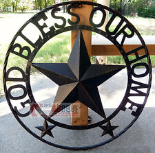 """GOD BLESS OUR HOME Metal Barn Star Rustic Brown Texas Rope Ring Wall Decor 24"""""""