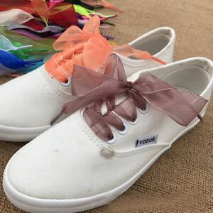 02dcf2a63d8b58 1pair Shoelaces Flat Silk Satin Ribbon Sport Shoes Laces Sneakers ...