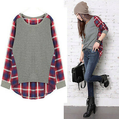 2014 Fashion Women Gray Plaid Checked Round Neck Casual Loose Shirt Tops Blouses