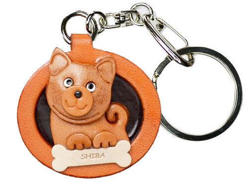 Shiba Inu 3D En Cuir Chien Plaque Animal Keychain vanca handade au Japon #26544