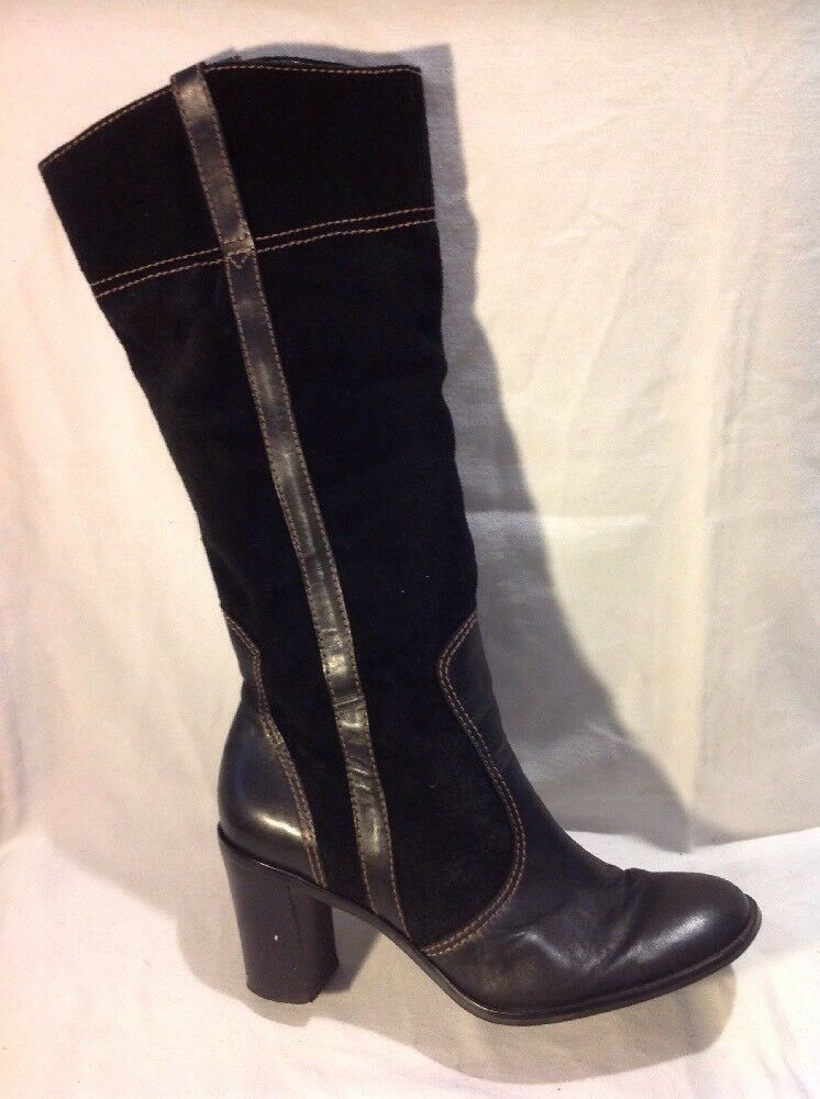 Franco Sarto Black Knee High Leather Boots Size 8Uk