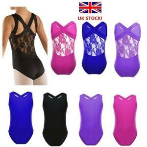 UK Girls Kids Gymnastics Leotards Ballet Dance Lace Back Jumpsuit Sleeveless