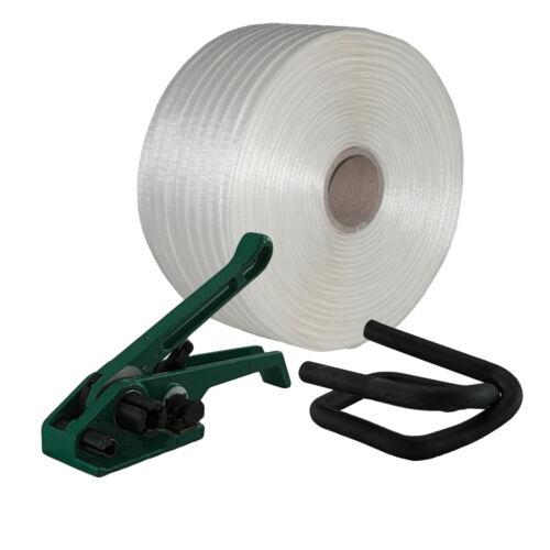 19 mm Textil gewebt HD Umreifung Set Umreifungsband Bandspanner Metallklemmen Mi