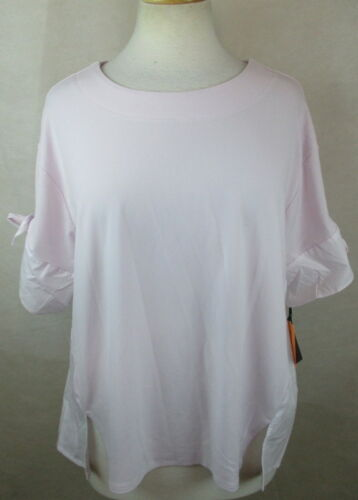 AVA VIV 3X 24W 26W PLUS SIZE BLOUSE SHIRT TOP COLOR BLOCKED BOW TIE SLEEVES NEW