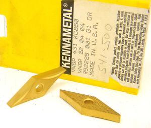 5-NEW-SURPLUS-KENNAMETAL-USA-VNGP-431-KC850-CARBIDE-INSERTS-Tin-coated-22-04-04