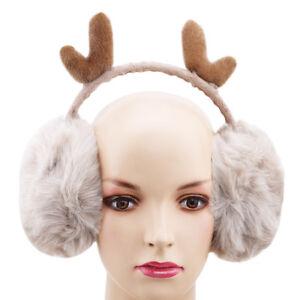 Women-Cute-Antlers-Design-Winter-Thick-Warm-Plush-Fluffy-Ear-Muffs-Warmer-LI