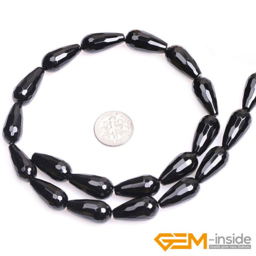 """Natural Genuine Black Onyx Agate Faceted Teardrop Beads For Jewelry Making 15/"""""""