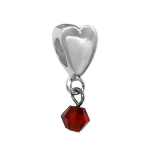 Heart Dangle Birthstone Charms