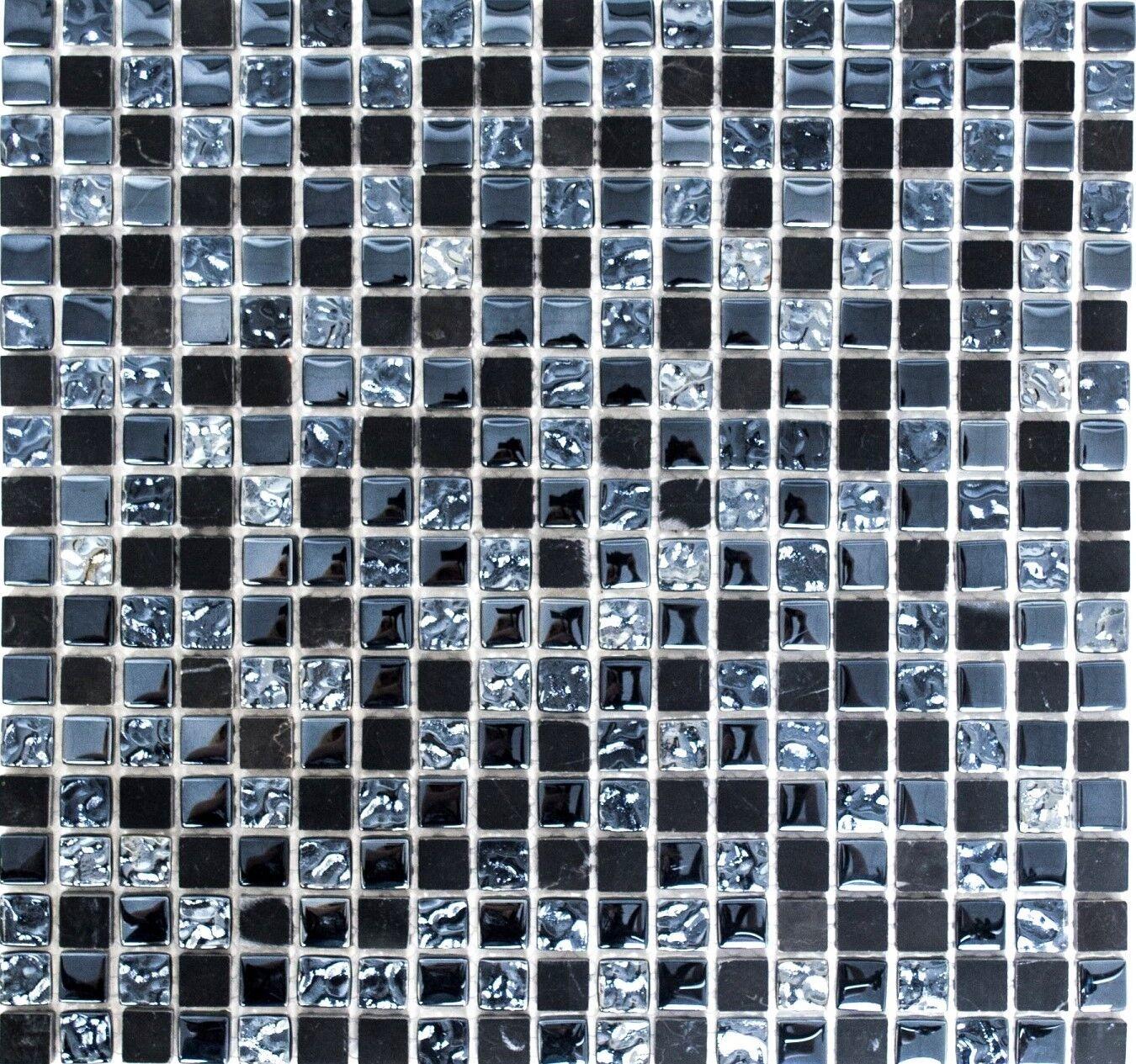 Glasmosaik Naturstein grau/schwarz Wand Bad Sauna Küche | 92-0302_f | 10 Matten