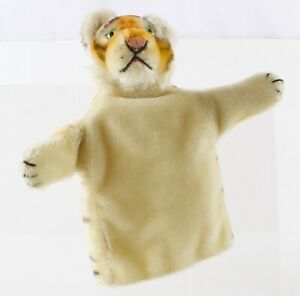 Steiff-Tiger-Hand-Puppet-Mohair-9-Tall-ca-1950s-Mr-Rogers-Style