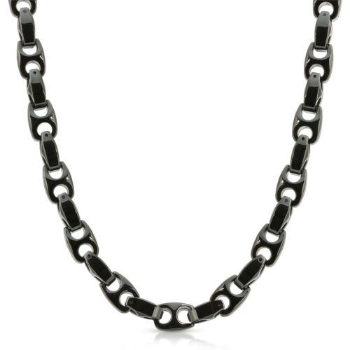 FREE SHIPPING! 02 Heavy Biker 9.5mm wide BLACK Tungsten Carbide Men Necklace