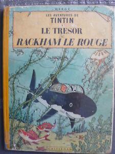 Herge-Les-Aventures-de-Tintin-LE-TRESOR-DE-RACKAM-LE-ROUGE-b11-DE-1954