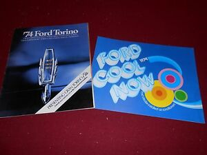 1974 FORD TORINO and ELITE 22 p. CATALOG + 74 FORD AIR CONDITIONING BROCHURE