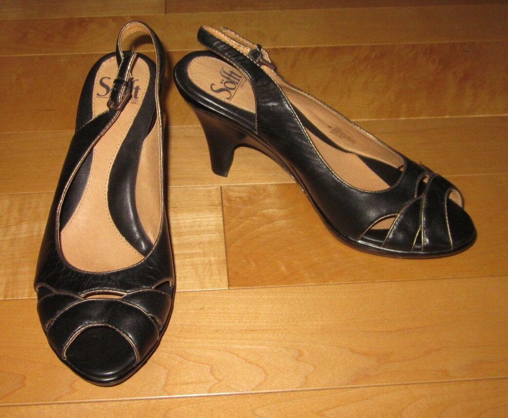 Sofft Womens Black Leather Open Toe Slingback Heels 7