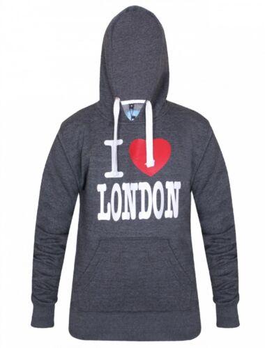 16 Sessanta linea uomo Charcoal I Love London Pullover Felpa con Cappuccio in Pile Tasca Marsupio XS-XL