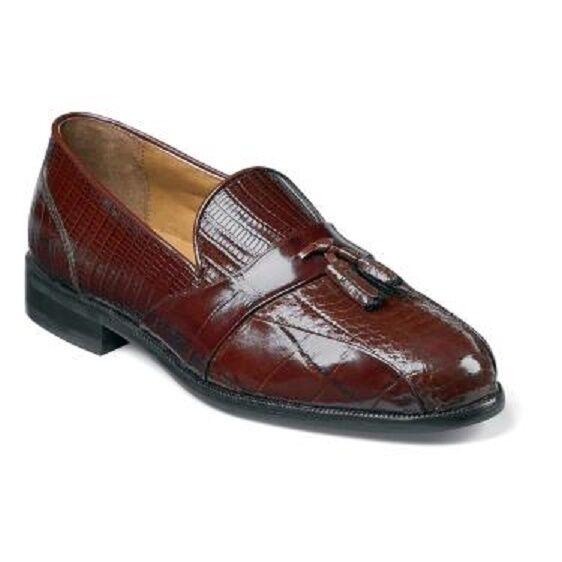 Stacy Adams Alberto Mens shoes Cognac Bike toe loafers Snakeskin 23059-03