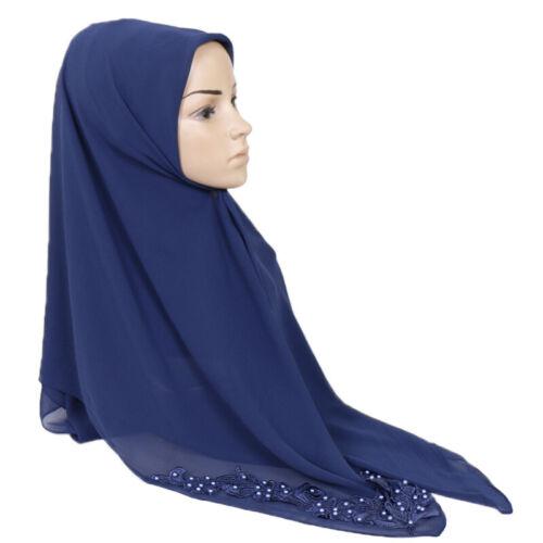 Islamic Chiffon Square Scarf Wrap Turban Muslim Bandana Hijab Women Headwear
