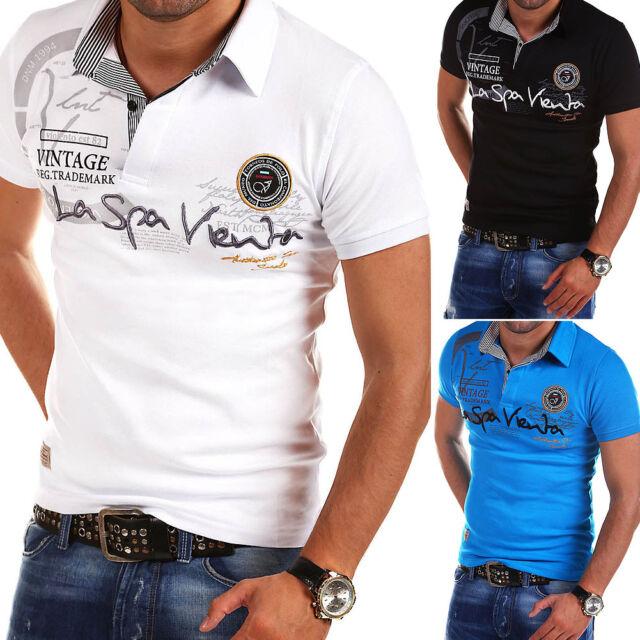 G.B.D. Herren Poloshirt Slim Fit Hemd Kurzarm T-Shirt Schwarz/Weiß/Blau/Rot NEU