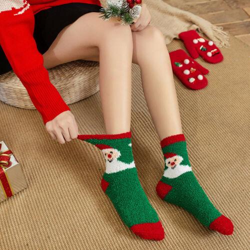 Women Christmas Warm Winter Velvet Socks Home Socks Xmas Party Soft Floor Socks