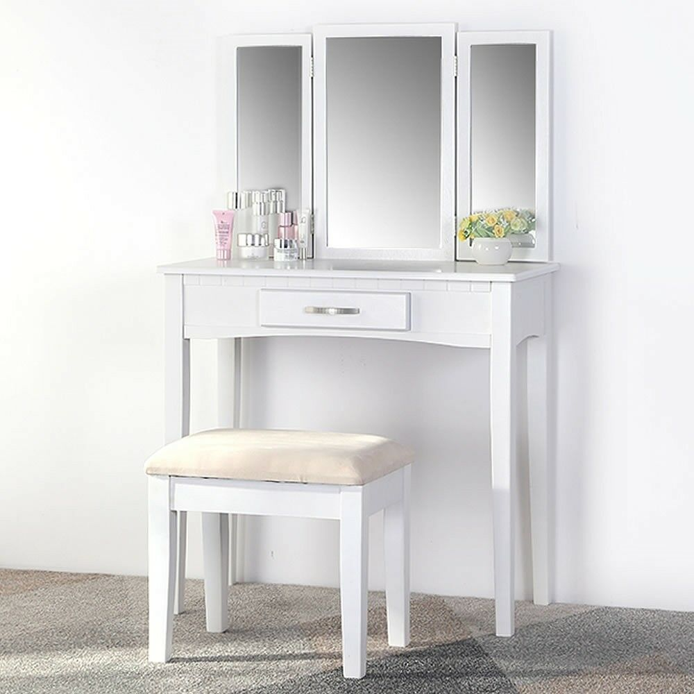 Coiffeuse Table de cosmétiques Table de coiffure tabouret miroir Blanc 3tlg. Set commode