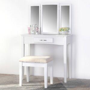 Schminktisch-Kosmetiktisch-Frisiertisch-Hocker-Spiegel-Weis-3tlg-Set-Kommode