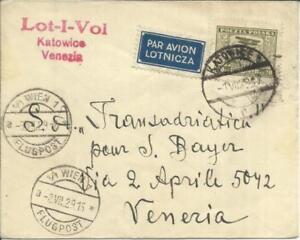 Poland FIRST FLIGHT Mu#73 KATOWICE 1/VII/29 to VENICE ITALY, backstamped