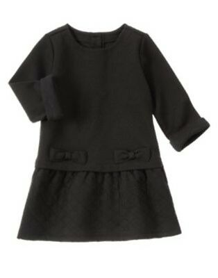 GYMBOREE RIGHT MEOW BLACK BOW QUILTED JERSEY DRESS 18 24 2T 3T NWT