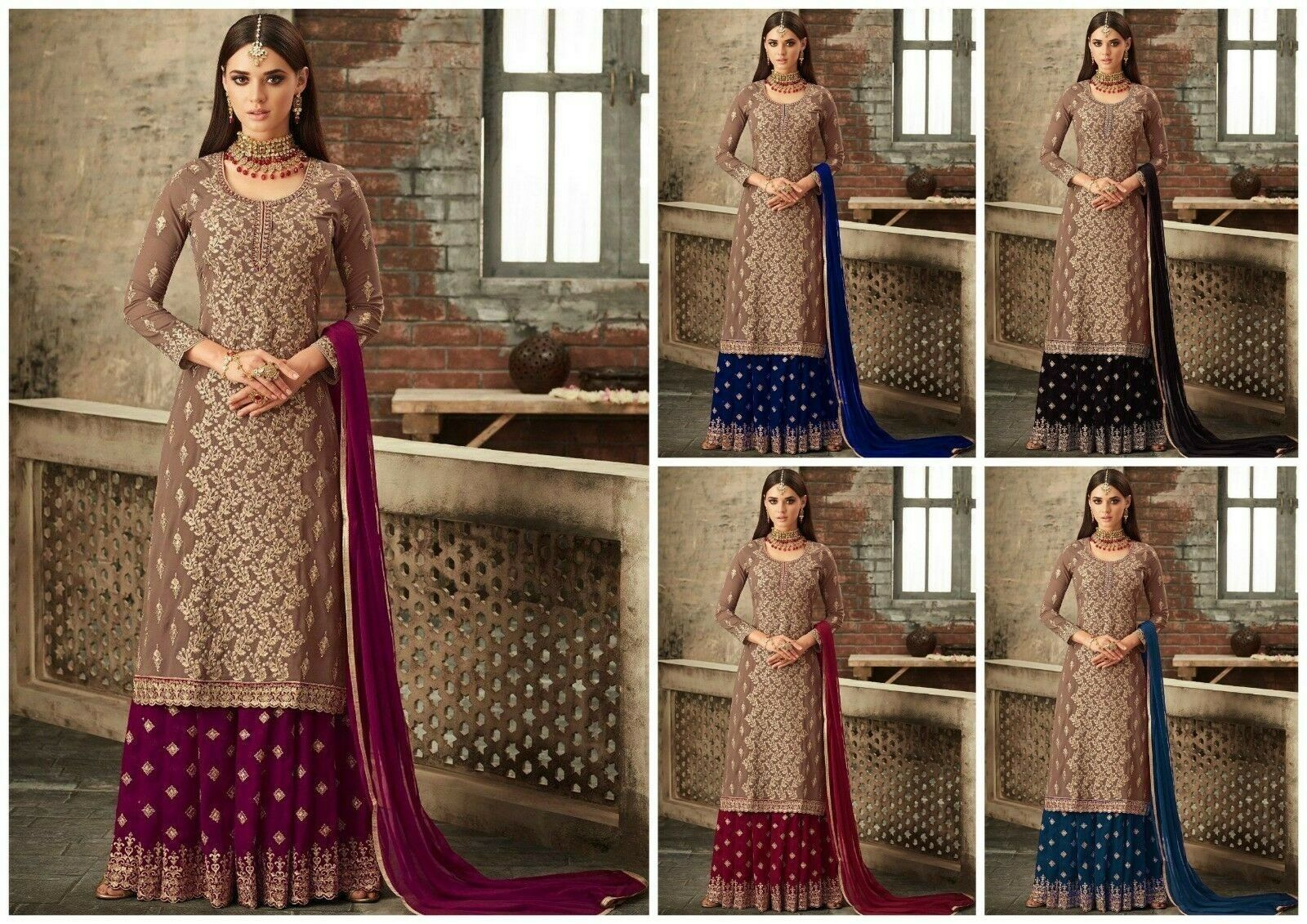 Indian Designer Anarakali salwar kameez Bollywood Pakistani Top with Sharara LF