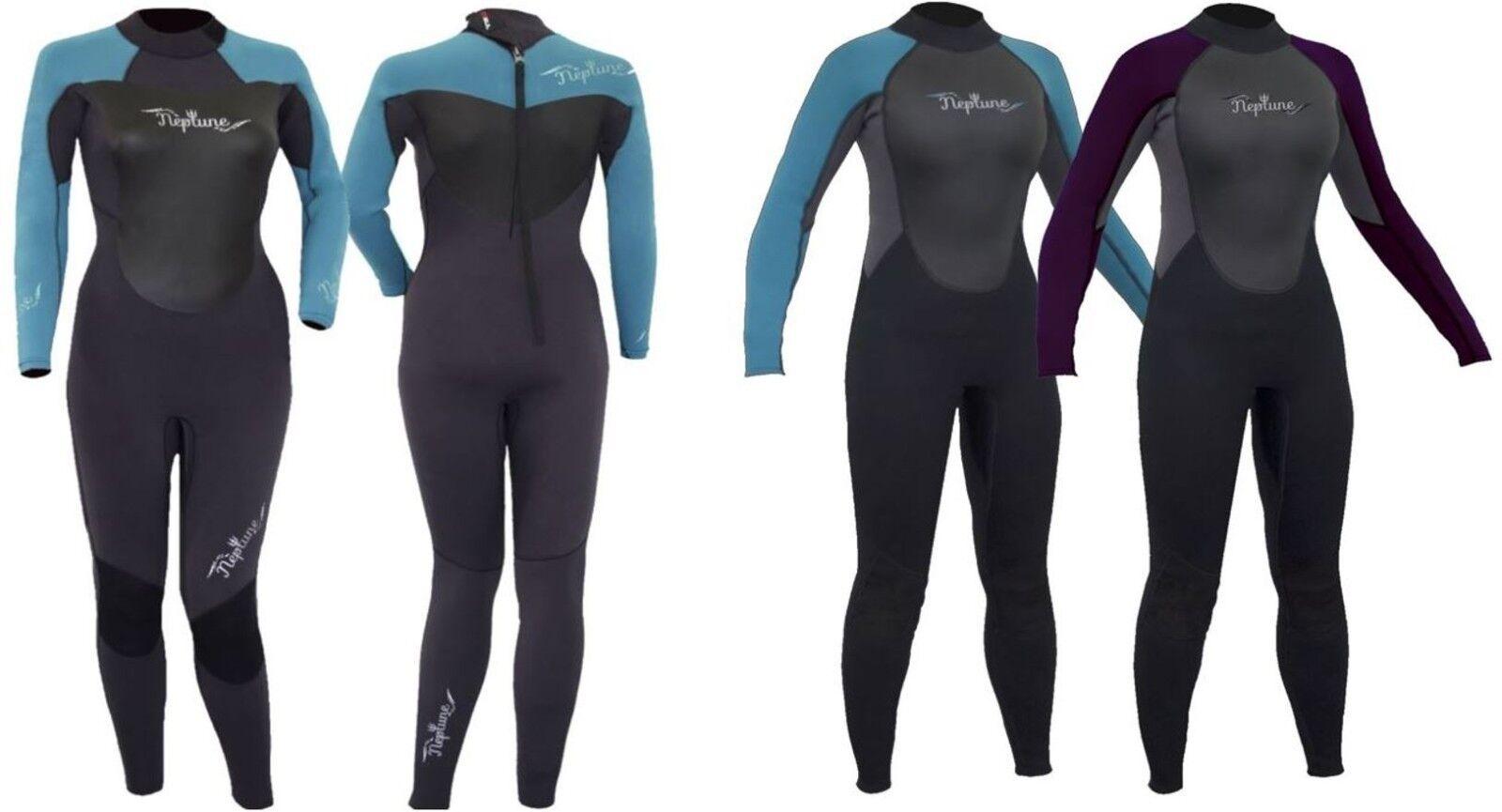 NEPTUNE 3mm or 5mm NEOPRENE LADIES FULL WETSUIT Surf Swim Kayak Sail SUP Jet Ski