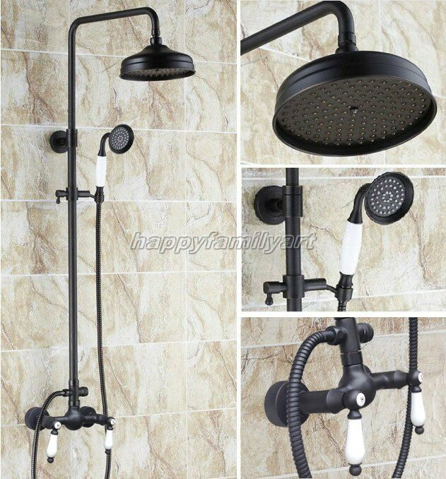 Salle de Bain 8  pluie tête de douche robinet Set d'huile noir frougeté laiton mitigeur Yrs478