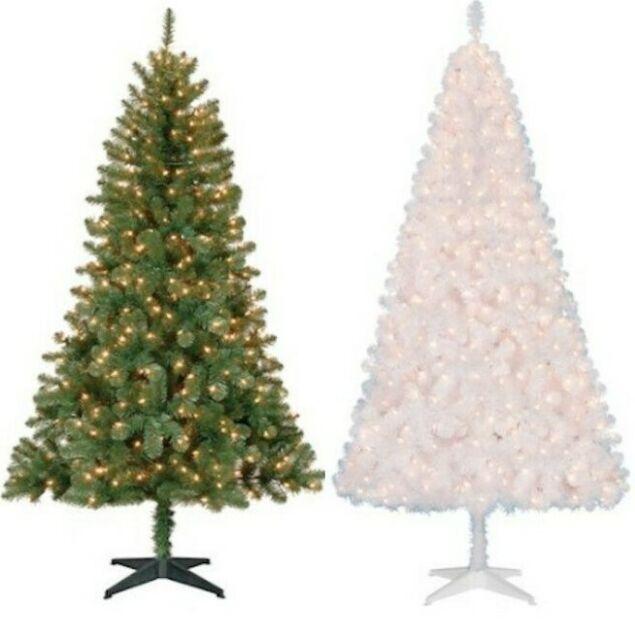 Madison Pine Christmas Tree: Pre Lit Christmas Tree 250 Clear Lights 6.5' Slim Holiday