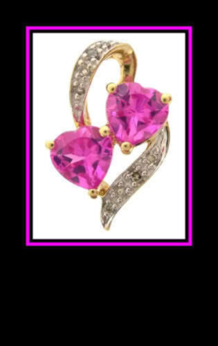 10K Solid Two-Tone Gold Pink Topaz & Diamond Penda