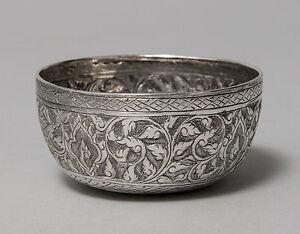 Antique Siamese (Thai) Silver Small Bowl with Kanok Pattern