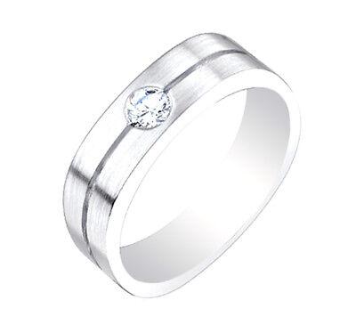 0.35 Karat 14k Weißgold Diamant Herren Ring Rund Brillant Form