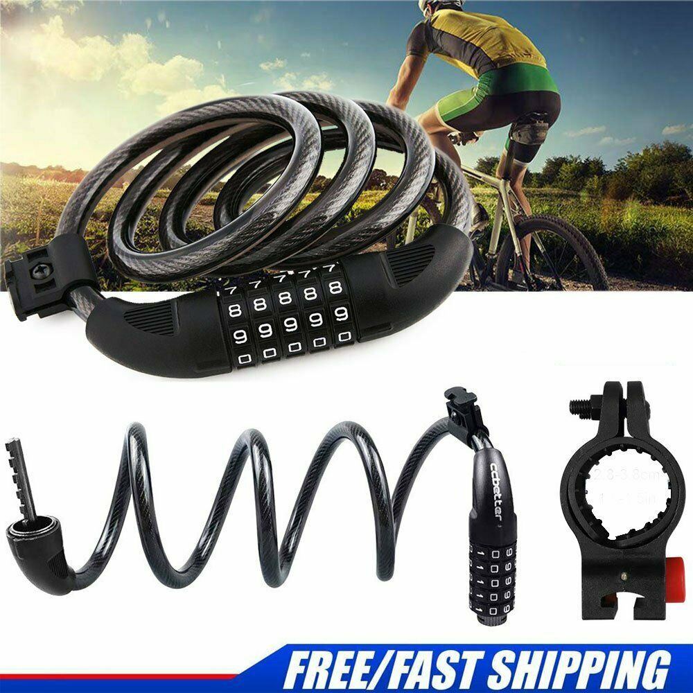 "47"" Bicycle Lock Cable 5 Digital Heavy Duty Combination Chai"