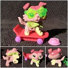 Littlest Pet Shop #1723 Authentic Pink Mauve Collie Dog Green Eyes accessories