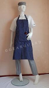 Adjustable-Full-Bib-Navy-Blue-amp-White-Pinstripe-Chef-Butcher-Apron-with-pocket