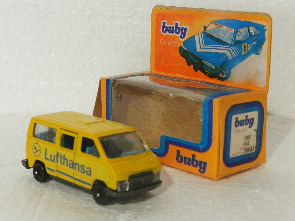 VINTAGE TRAFFIC CAR BUS ADgreenISING OF LUFTHANSA BRAND BUBY 1985 MIB 1 64
