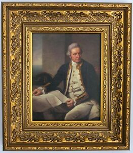 Captain James Cook Framed Oleograph R590#E Reproduction Picture , Art .
