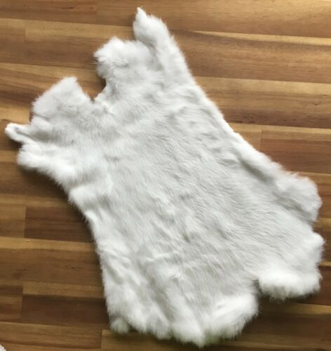 5x WHITE Rabbit Skin Fur Pelt for animal training garments fly tying LARP