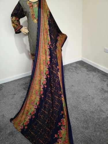 New Women Fashion Indian Pakistani Designer khadar lin Cousu 3 Pièces Costumes