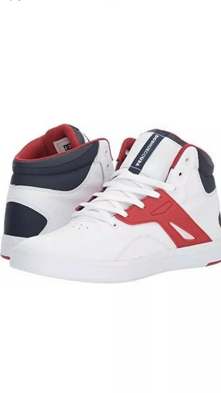 DC Men's Frequency Top Sneaker shoes White Nvy Red  High-Top Footwear Casual 11.5  hot sports